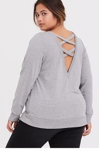 LIGHT GREY LATTICE BACK ACTIVE SWEATSHIRT